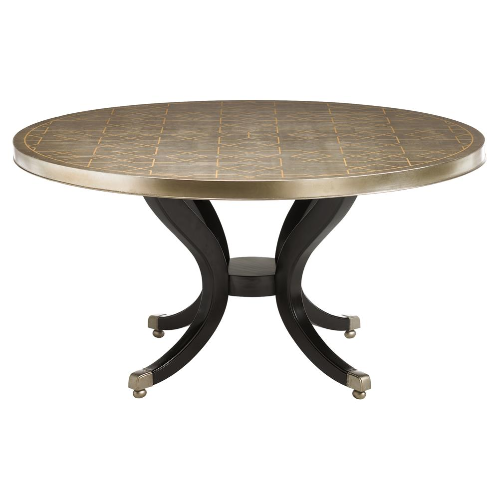 Dining Tables Mila Regency Gold Stencil Round Wood Dining Table