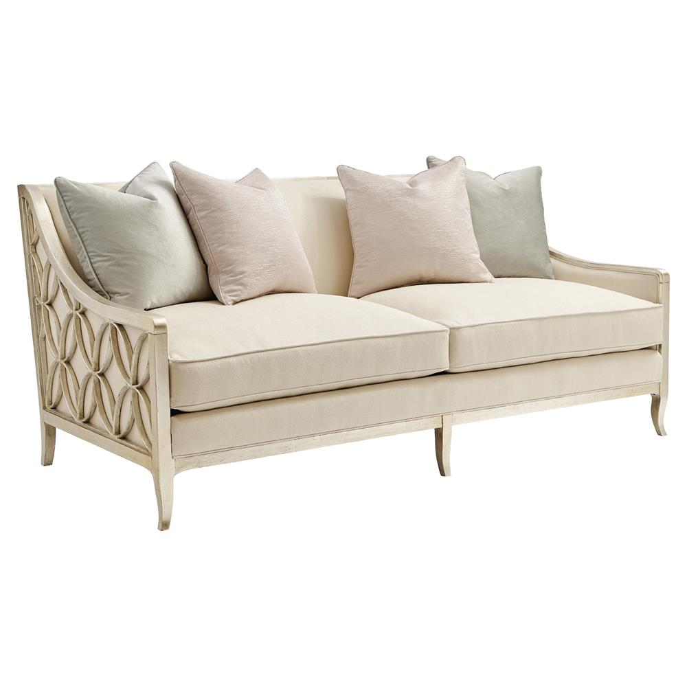 Finnian Regency Champagne Silver Fret Ivory Sofa Kathy Kuo Home
