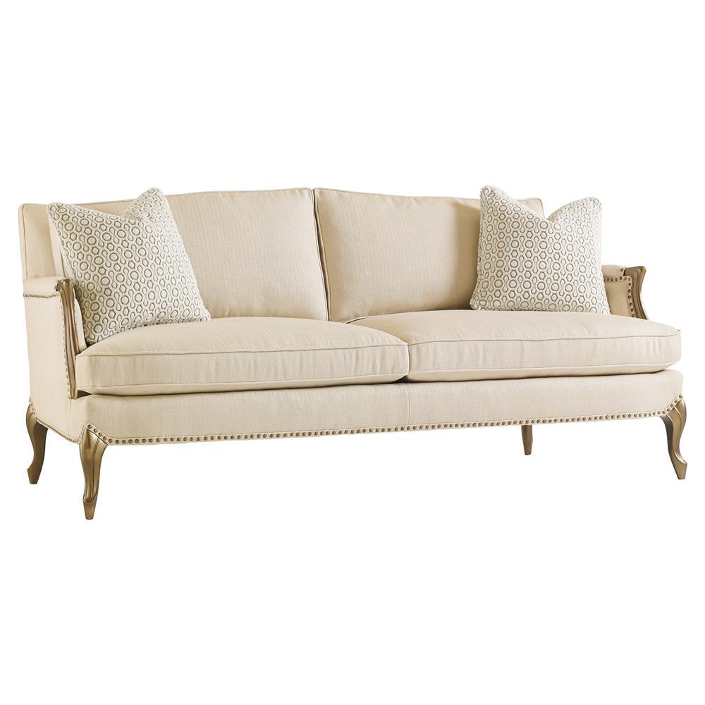 Osie french beige herringbone antique gilt sofa kathy for Canape furniture