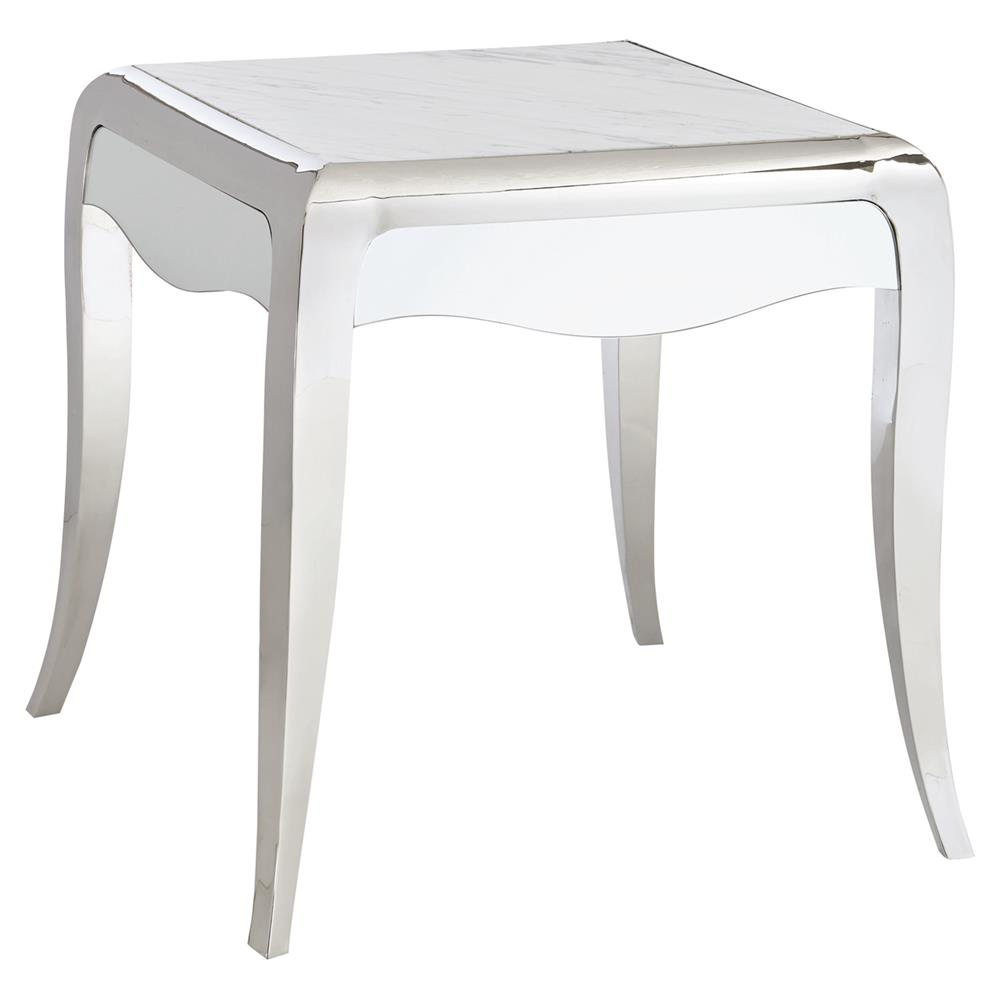 Auretta Polished Silver White Marble End Table