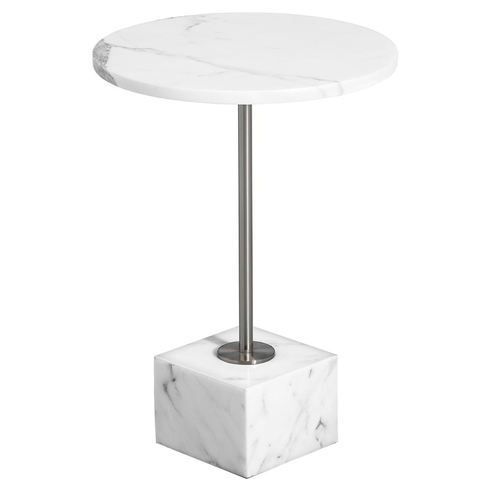 deirdra modern classic round white marble end table kathy kuo home. Black Bedroom Furniture Sets. Home Design Ideas