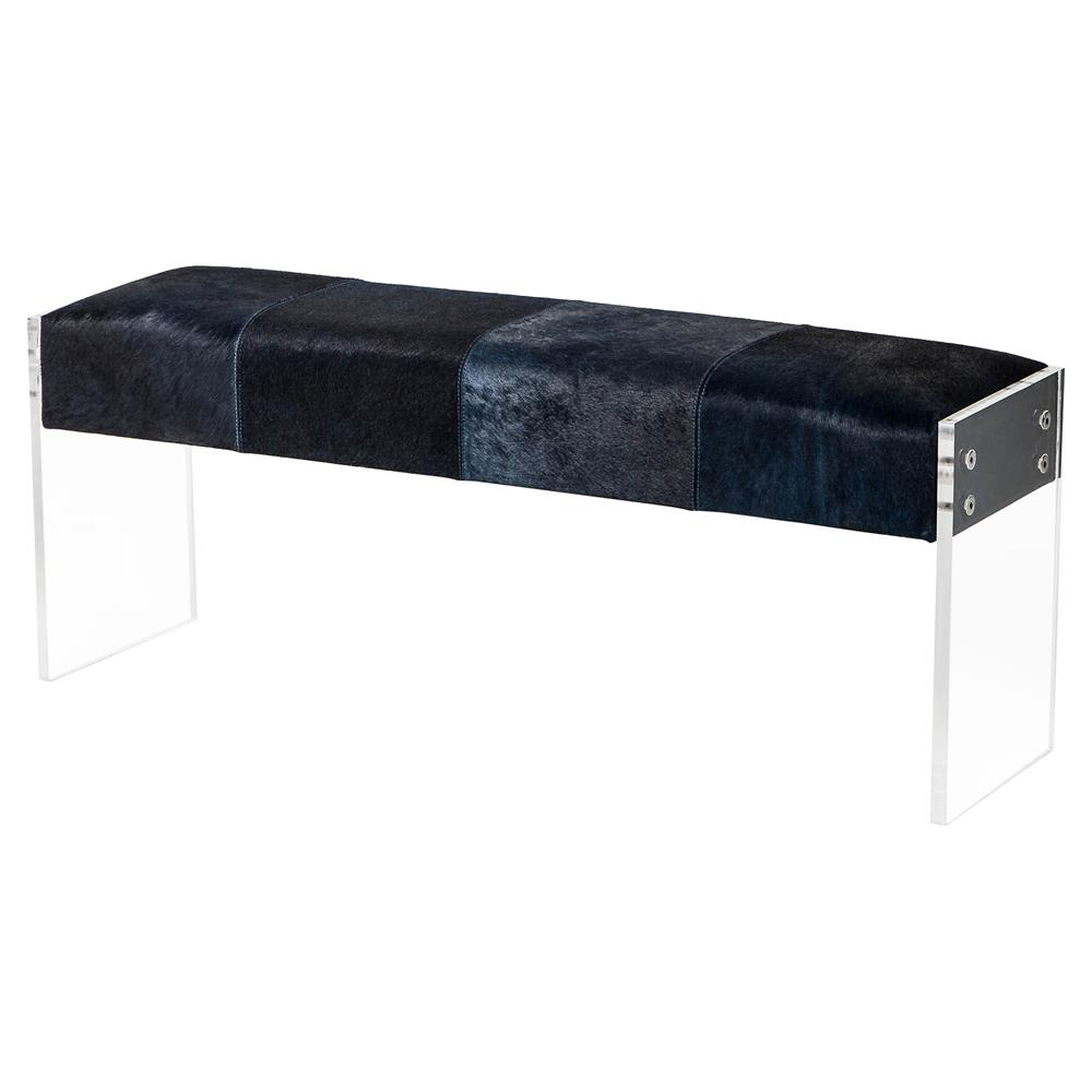 Dariela Modern Blue Black Hide Acrylic Bench Kathy Kuo Home
