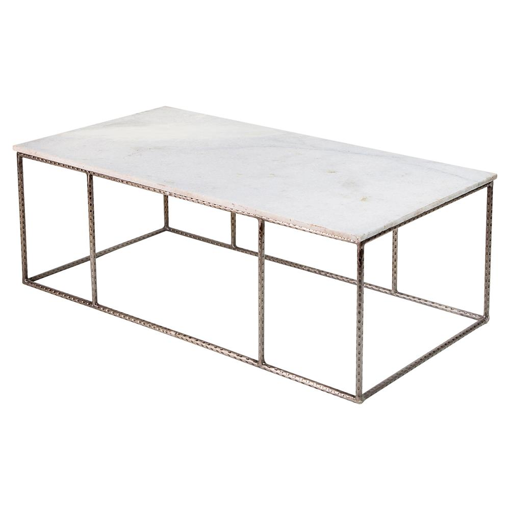 Neha bazaar hammered iron white marble coffee table White marble coffee table