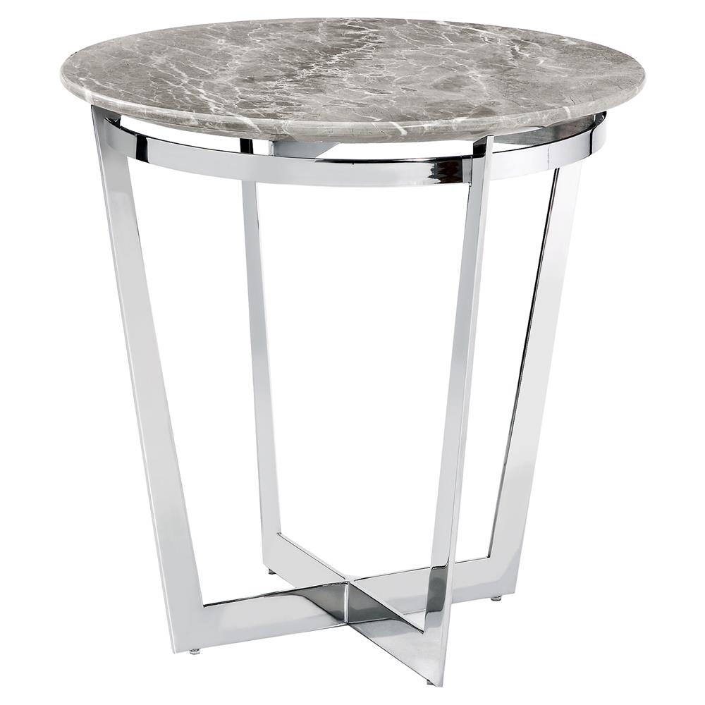 Oracle Grey Marble Coffee Table: Interlude Wyatt Grey Marble Round Steel End Table