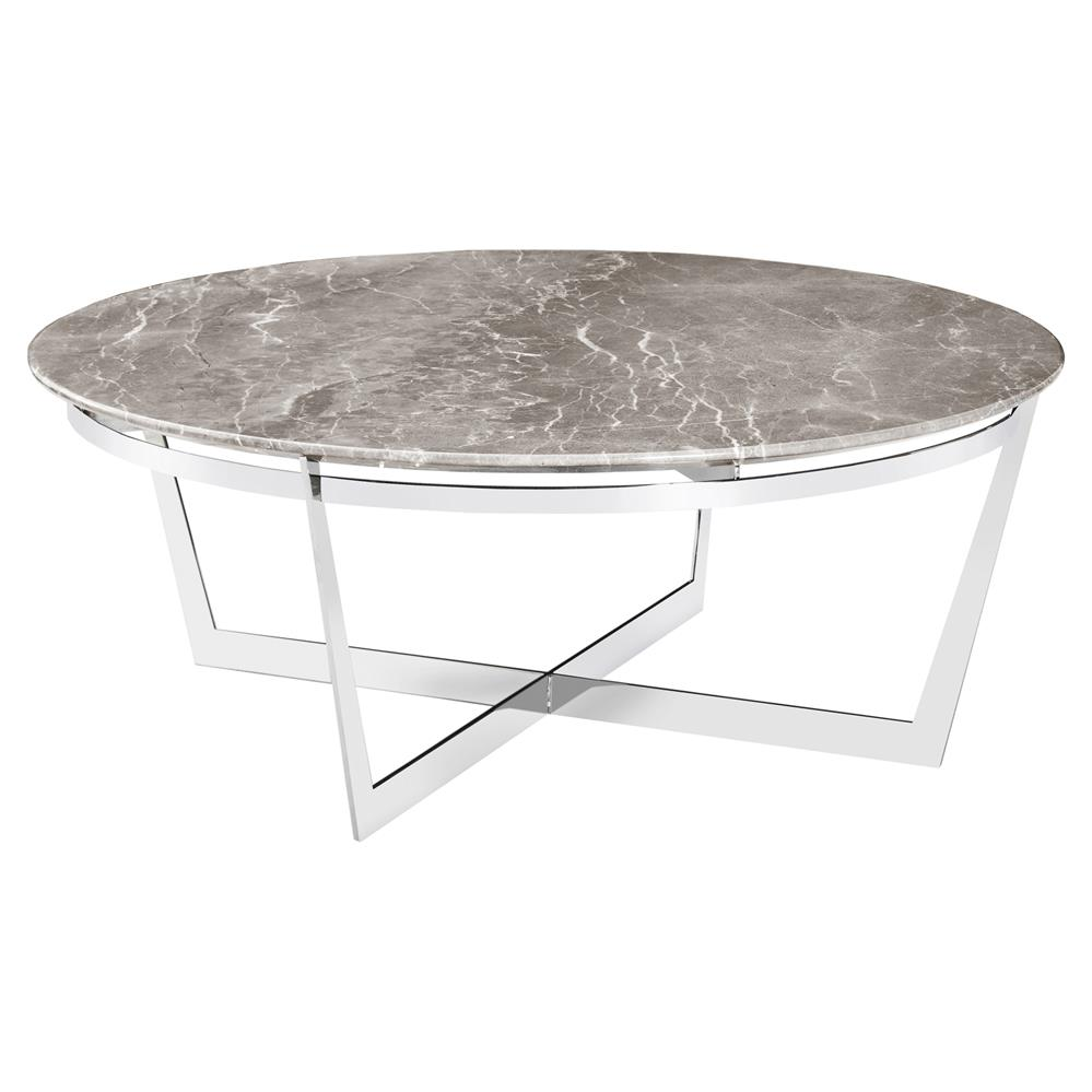 Alexys grey marble round steel coffee table kathy kuo home Round marble coffee tables