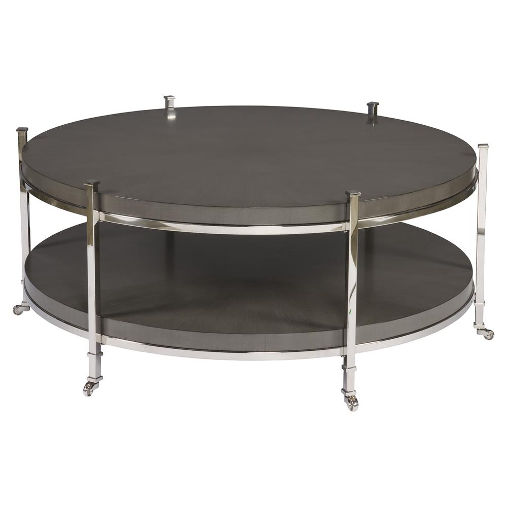 Barring modern charcoal grey round steel coffee table for Gray metal coffee table