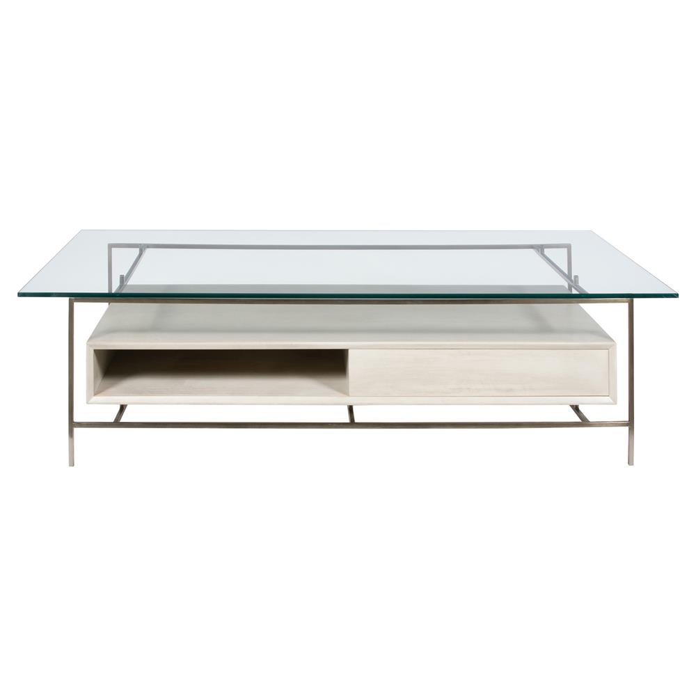 Nadie Modern Open Bronze Glass Ivory Coffee Table Kathy Kuo Home