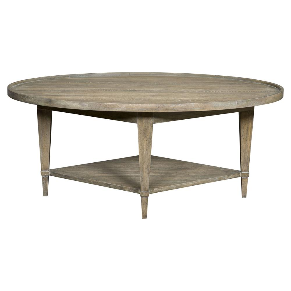Faine Coastal Rustic Grey Cedar Oval Coffee Table Kathy Kuo Home