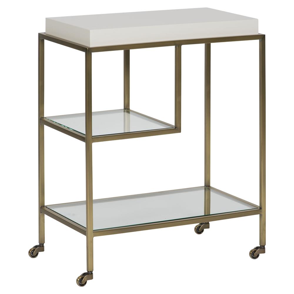 maura white lacquer brushed brass rolling end table. Black Bedroom Furniture Sets. Home Design Ideas