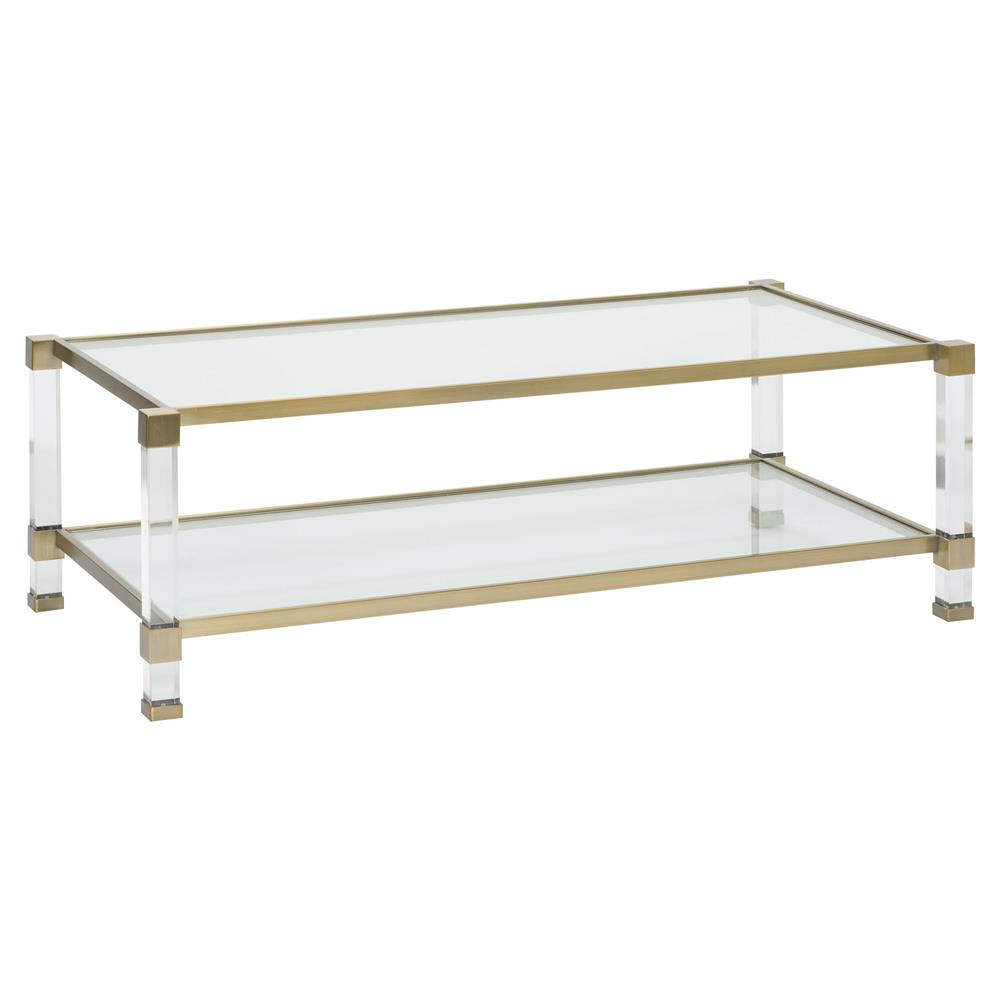 Lenor Acrylic Satin Brass Rectangular Coffee Table Kathy Kuo Home