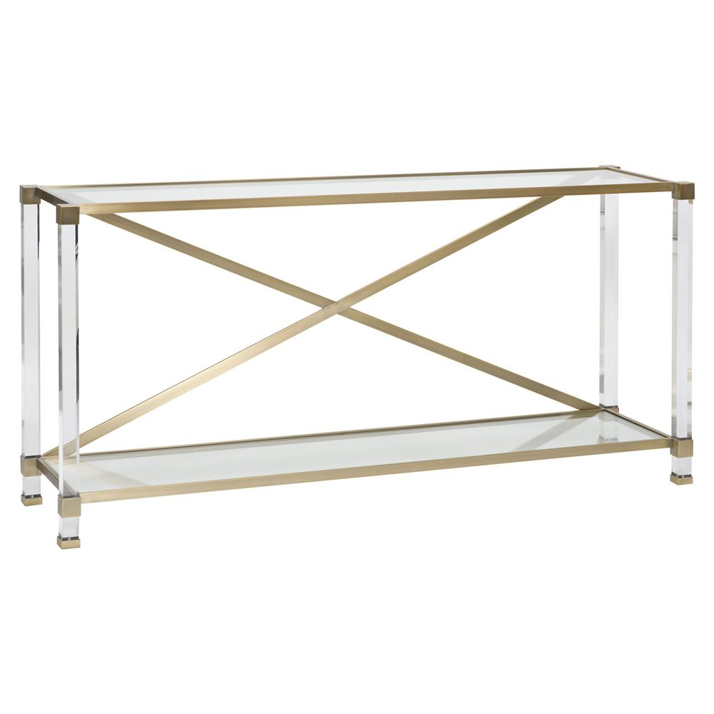 Thom filicia new modern acrylic satin brass console table kathy kuo home
