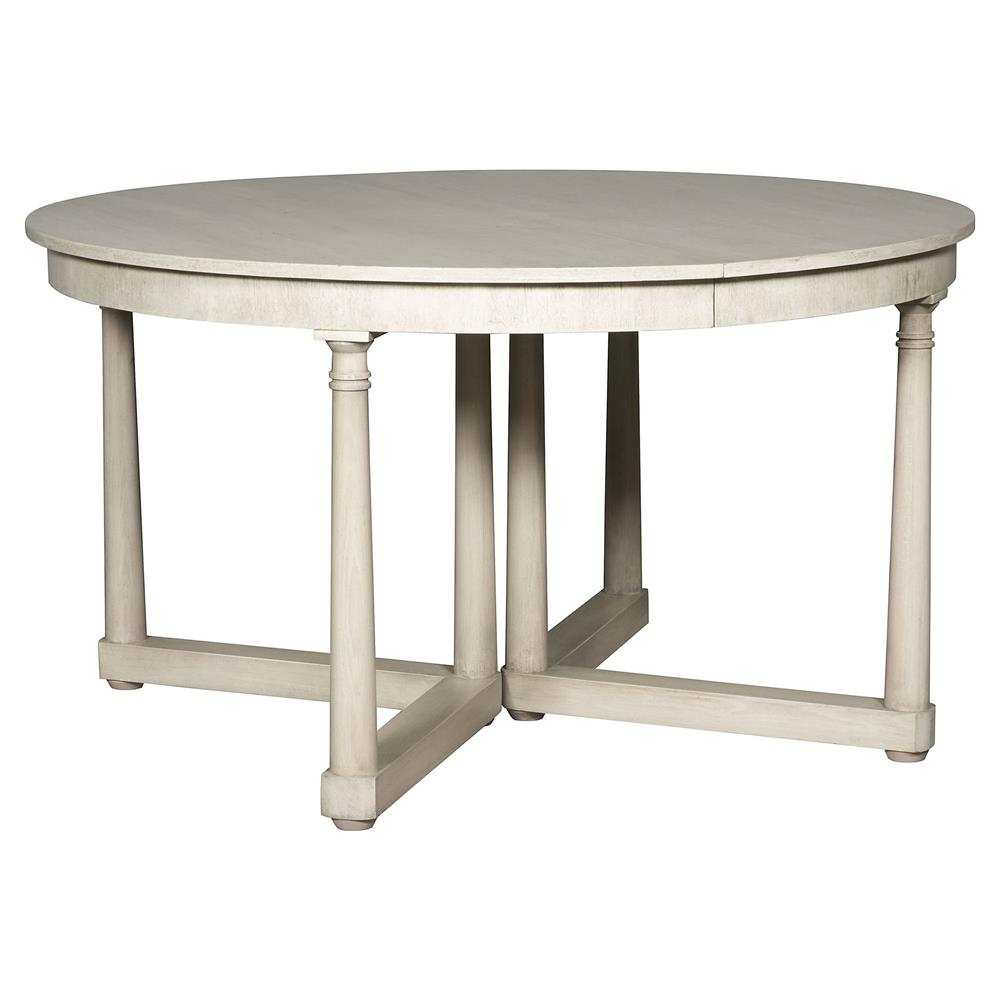 Declan rustic white extendable round dining table kathy for Round extendable dining table