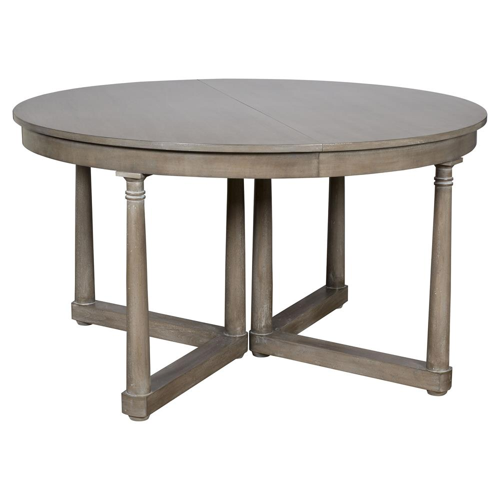 Declan rustic grey brown extendable round dining table for Round extendable dining table