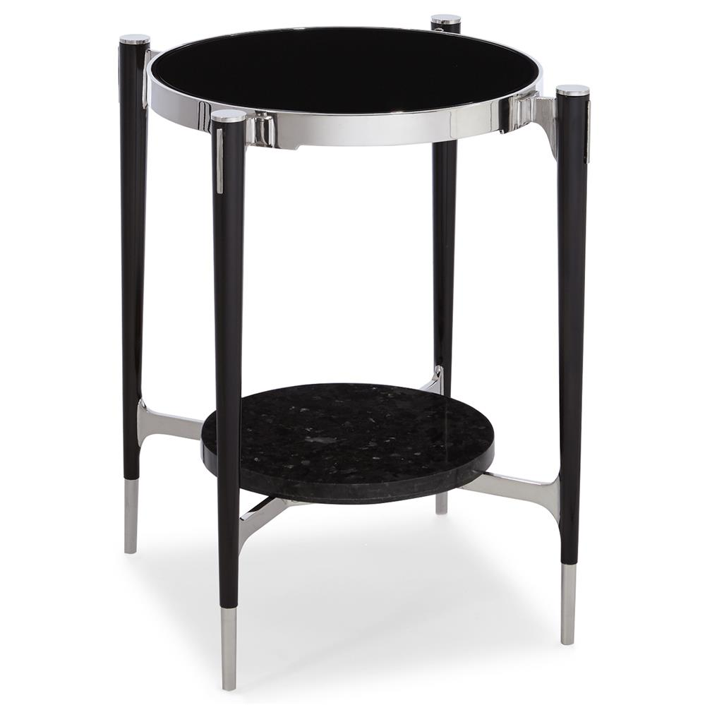 Donovi modern black granite round end table kathy kuo home for Black round end table