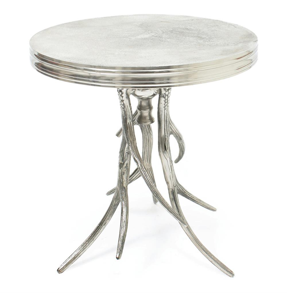 Vail modern rustic polished silver antler horn side table for Modern side table