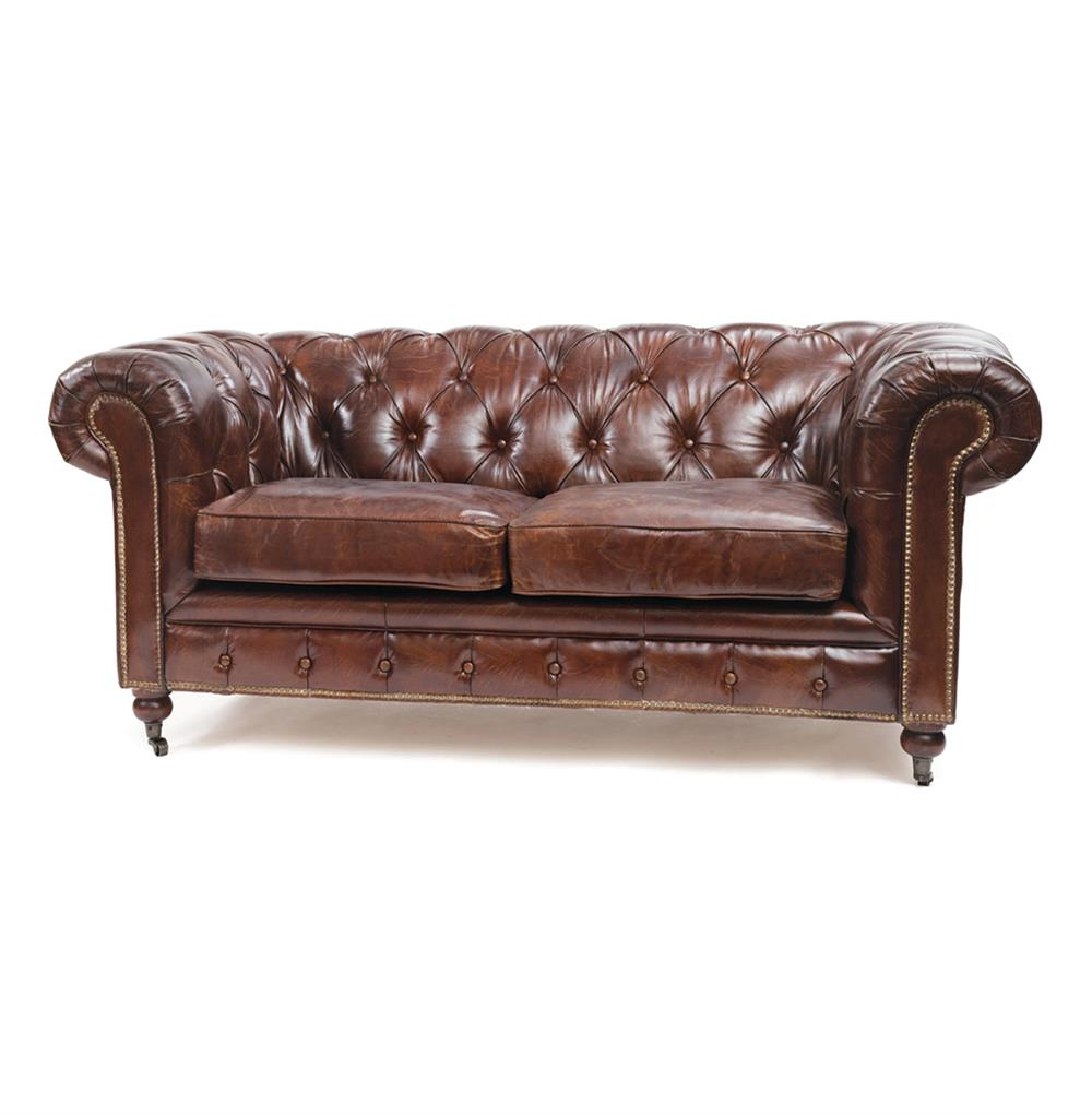 London vintage top grain leather chesterfield sofa kathy kuo home Leather chesterfield loveseat