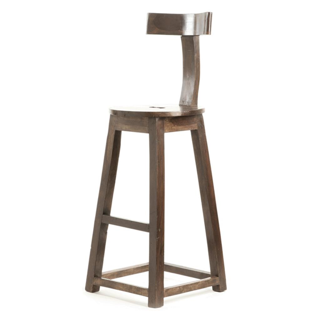 Modern Wood Bar Stools ~ Modern industrial rustic solid wood bar stool kathy kuo home