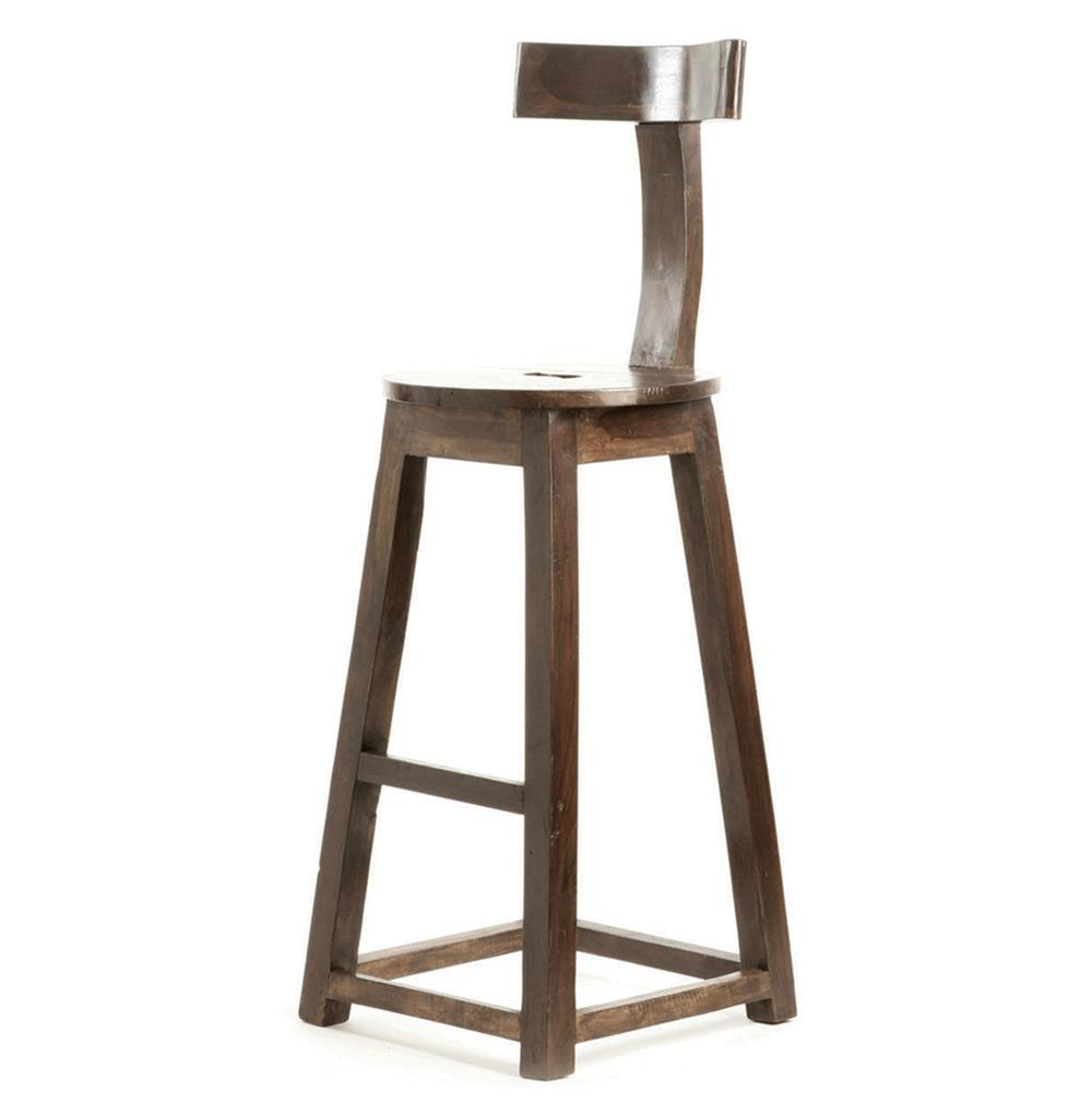 Solid Wood Stools ~ Modern industrial rustic solid wood counter stool kathy