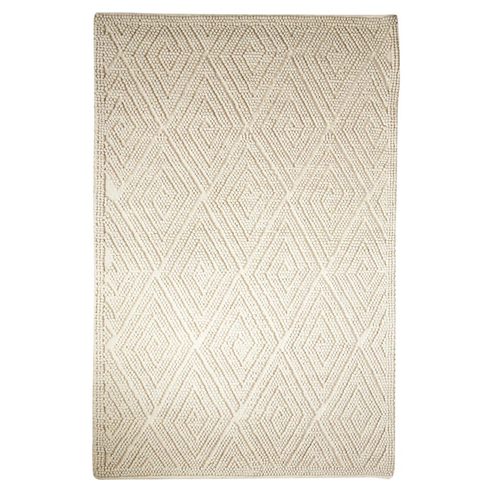 Pom Scandia New Zealand Wool Textured Ivory Rug 5x8