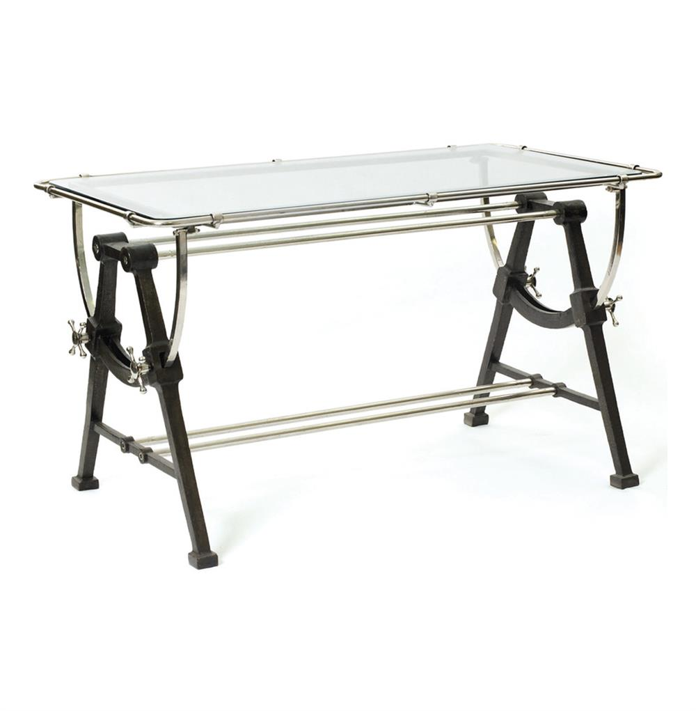 Contemporary Iron Brass And Glass Dining Table Kathy Kuo Home