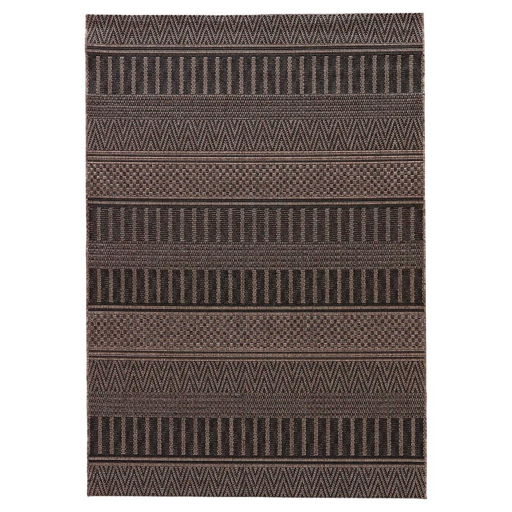 Catrine tribal black woven metallic outdoor rug 8x10 for Woven vinyl outdoor rugs