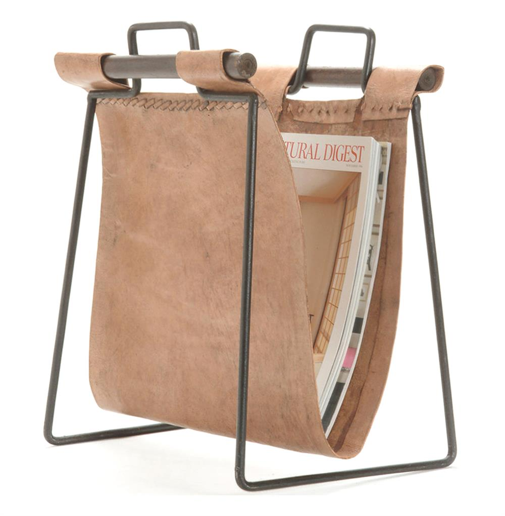 Iron And Leather Rustic Lodge Magazine Rack Kathy Kuo Home
