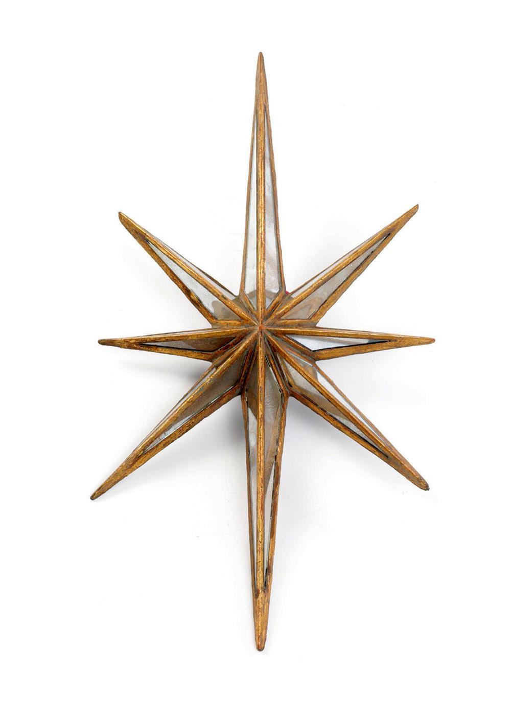 large antique gold mirror star burst object sculpture