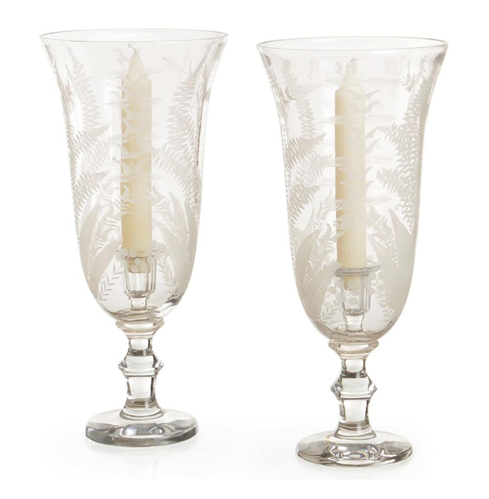 Pair Elegant Etched Twig Leaf Fern Glass Hurricane Candle Holders | Kathy  Kuo Home