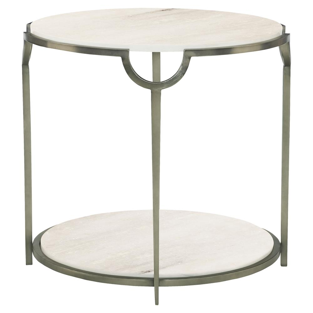 Laci regency carrera nickel round end table kathy kuo home for Table carrera