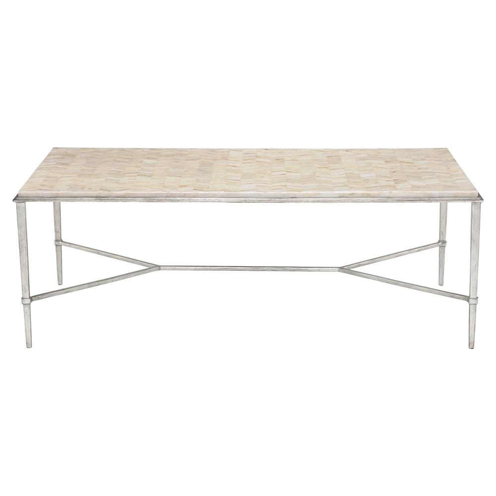 Redmond Regency Herringbone Stone Silver Steel Coffee Table | Kathy Kuo  Home ...