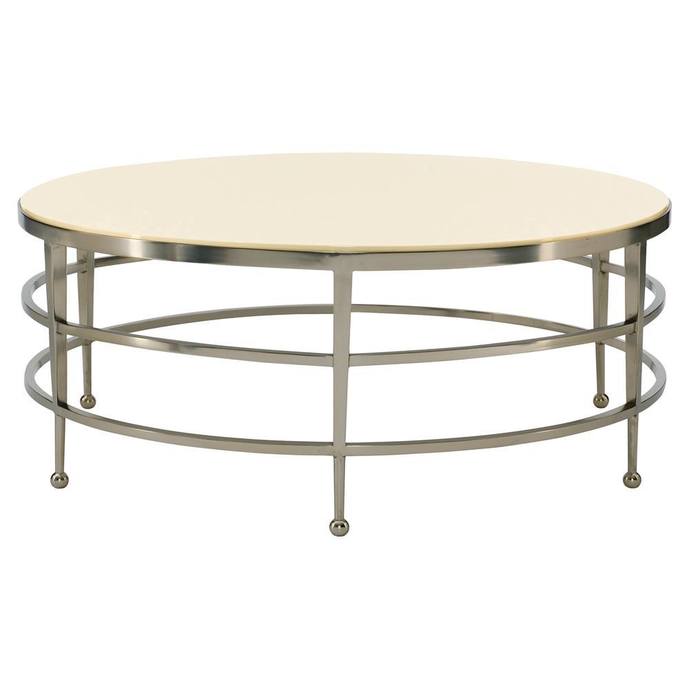 Antique Nickel Coffee Table: Stark Modern Classic Round Cream Nickel Coffee Table