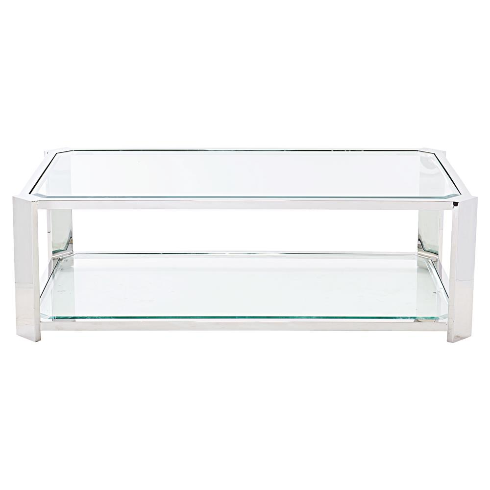 Coffee Tables Ryne Modern Classic Polished Silver Glass Coffee Table