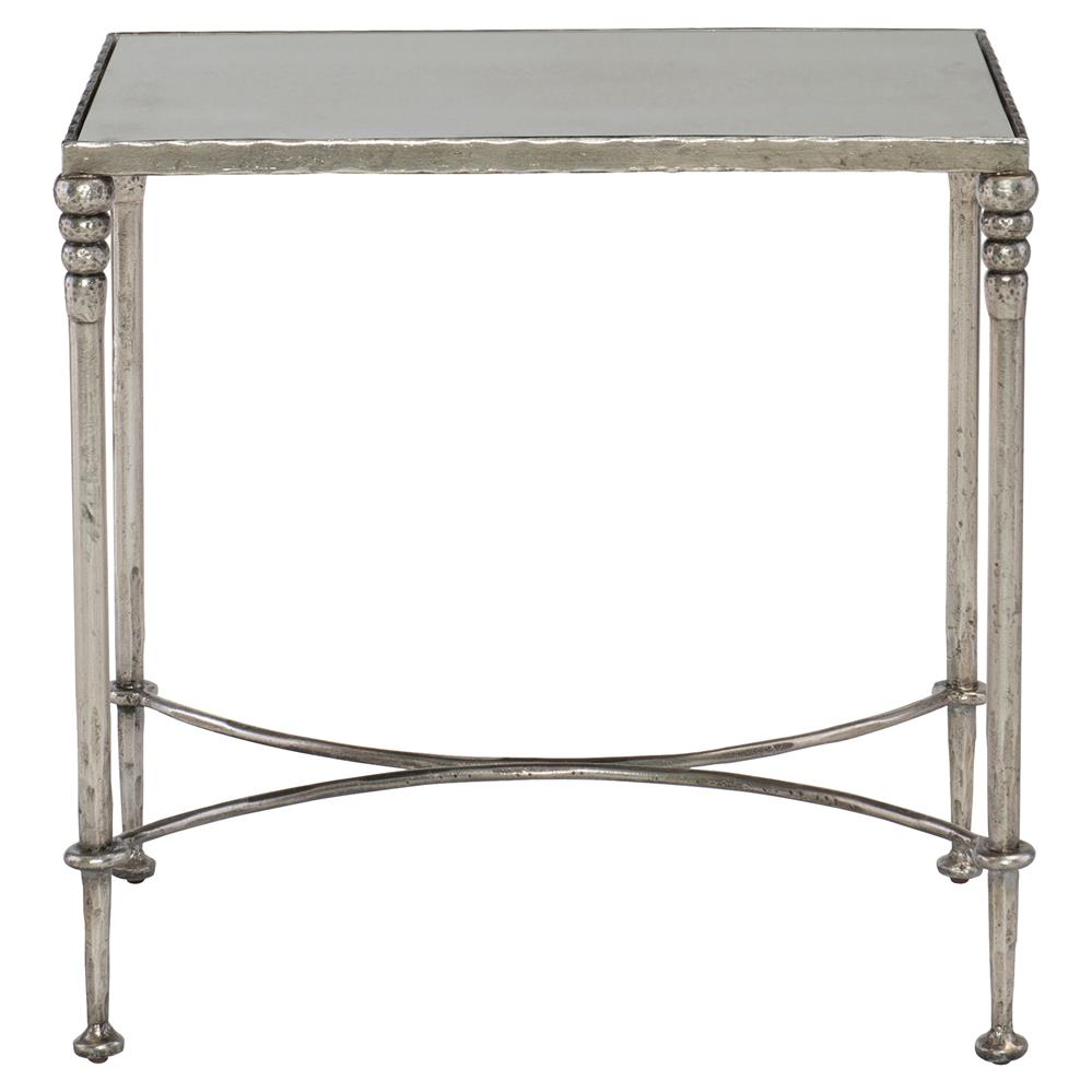 Freyja Industrial Antique Silver Mirror Glass End Table Kathy Kuo Home