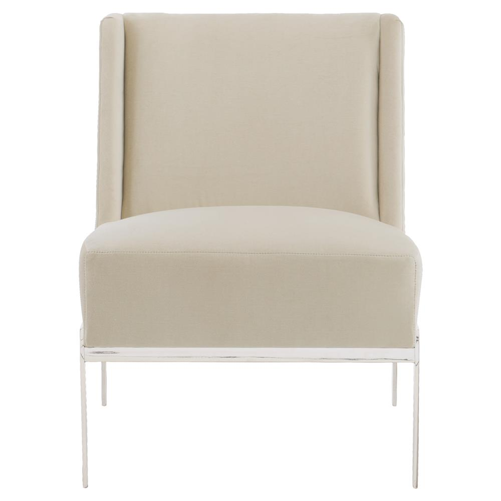 Forever Modern Classic Beige Velvet Silver Armless Chair | Kathy Kuo Home