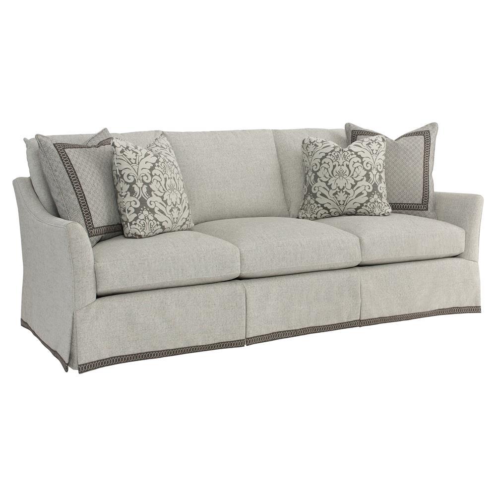 Sedric classic grey skirted ribbon trim sofa kathy kuo home for Classic sofa