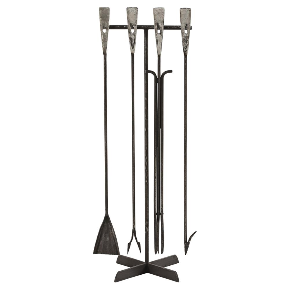 toole industrial forged iron fireplace tool set