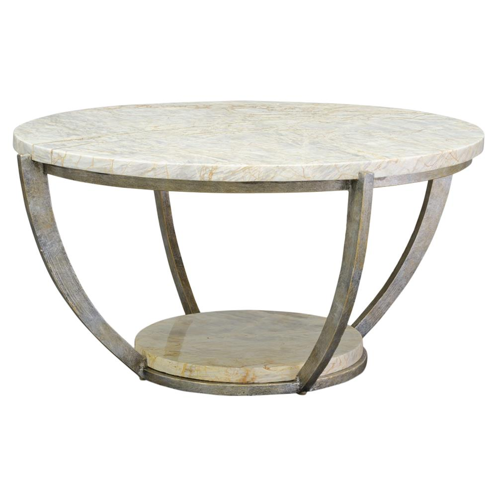 Palecek Brandt Regency Curved Iron Natural Marble Coffee Table Kathy Kuo Home