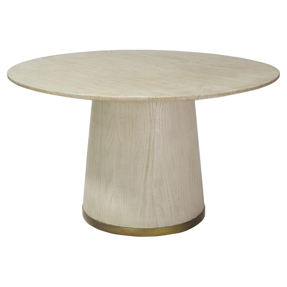 Palecek Conrad Coastal Gold Trim Ivory Round Dining Table Kathy Kuo Home