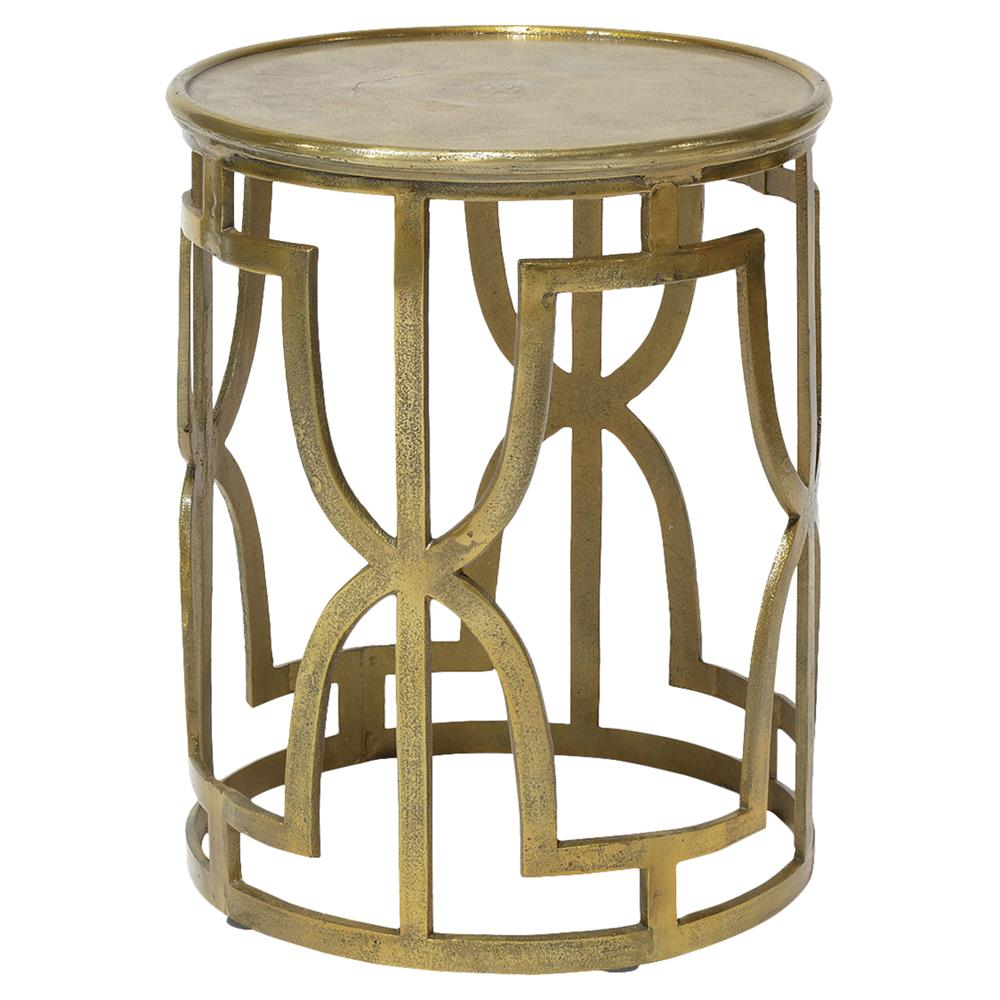 Palecek kim global bazaar metallic gold round end table for Round gold side table