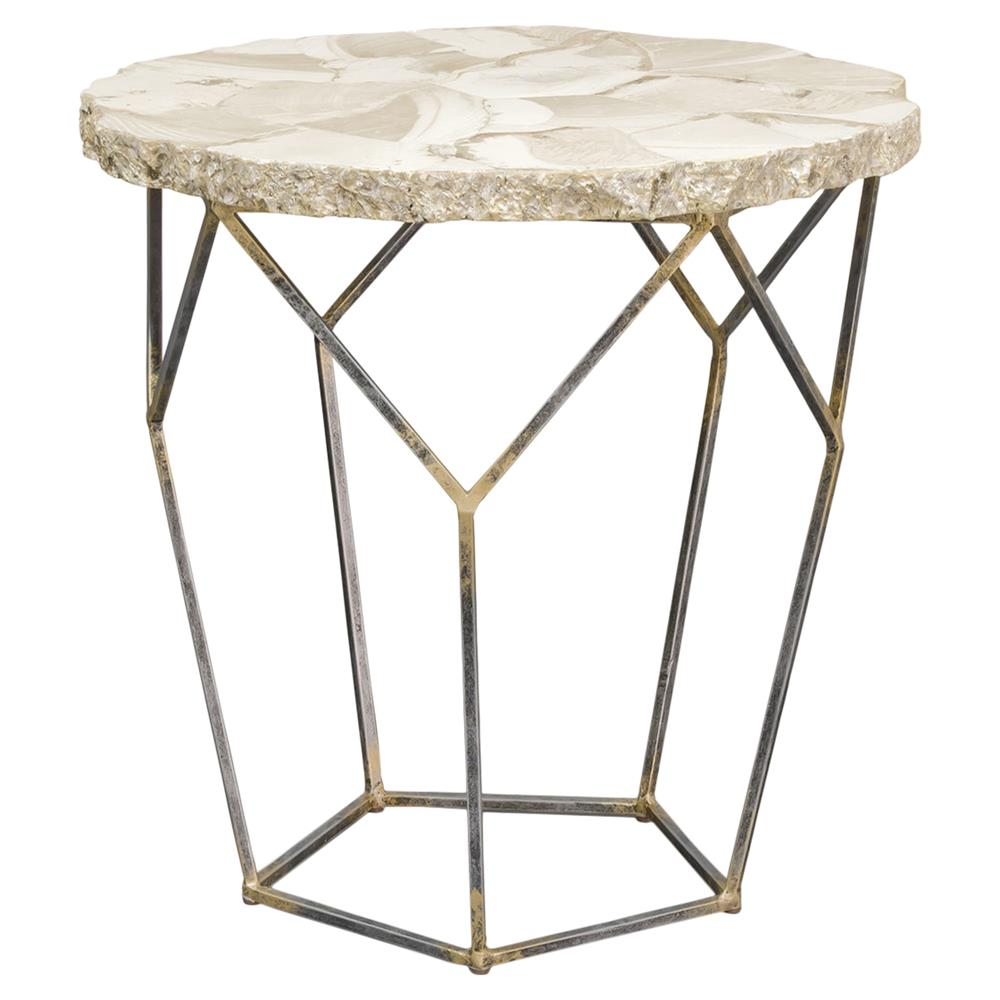Haskell Coastal Inlaid Clam Shell Gold Iron End Table