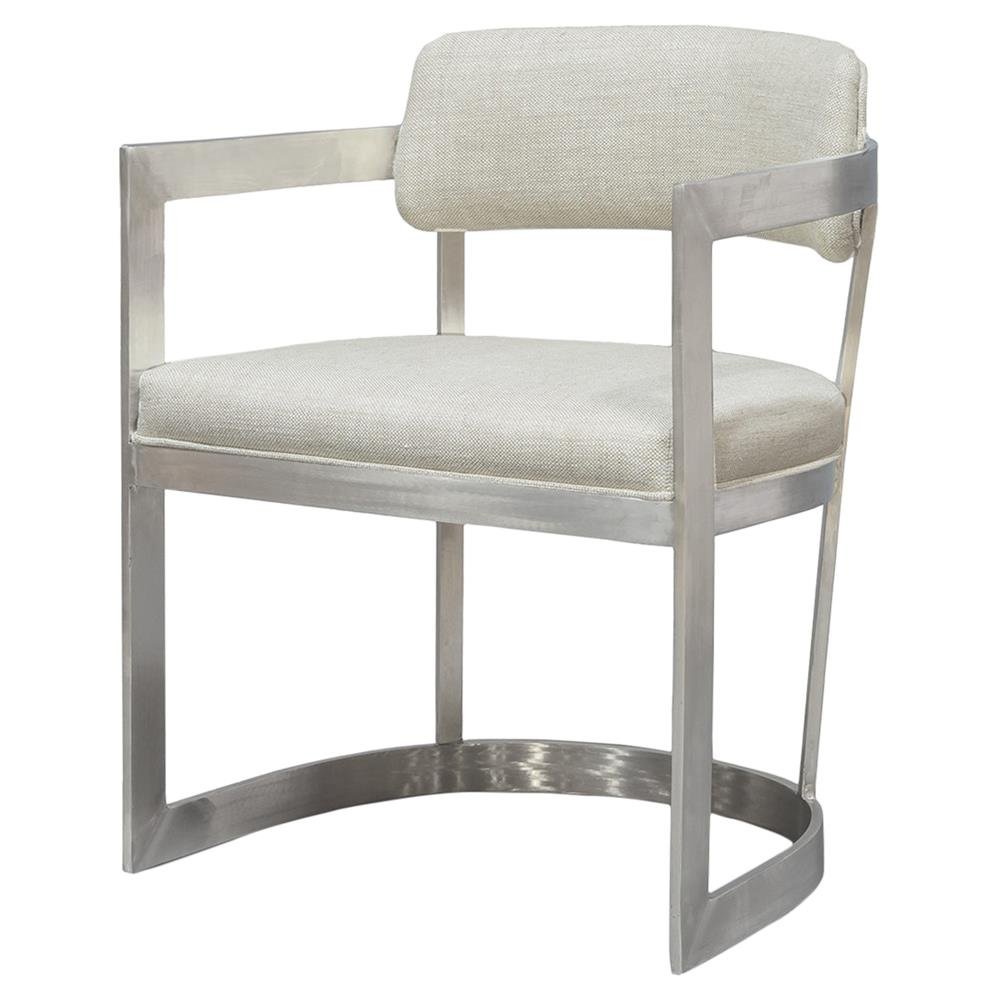 silver brushed metal chair woven. Palecek Conrad Arm Loft Brushed Steel Ecru Linen Armchair   Kathy Kuo Home Silver Metal Chair Woven E
