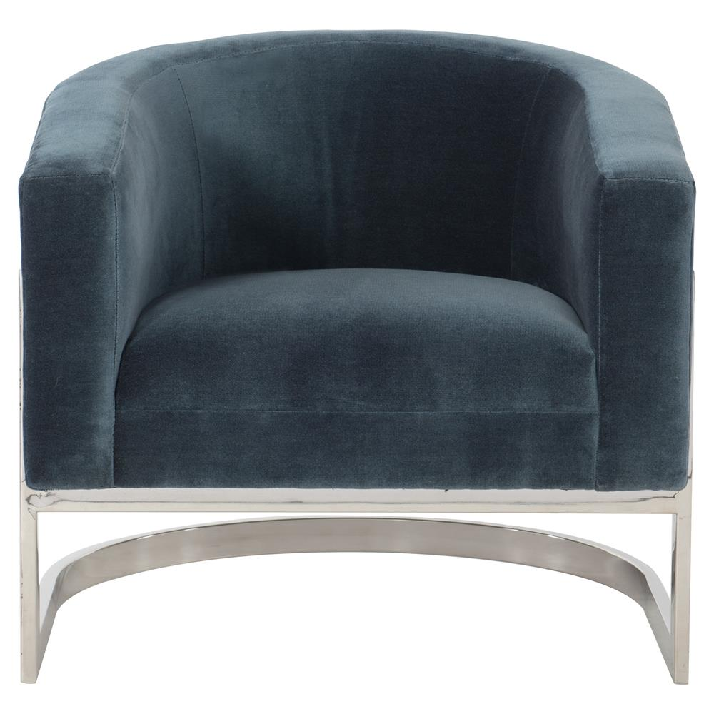 cabrera modern classic curved steel blue velvet armchair kathy kuo home - Blue Velvet Chair