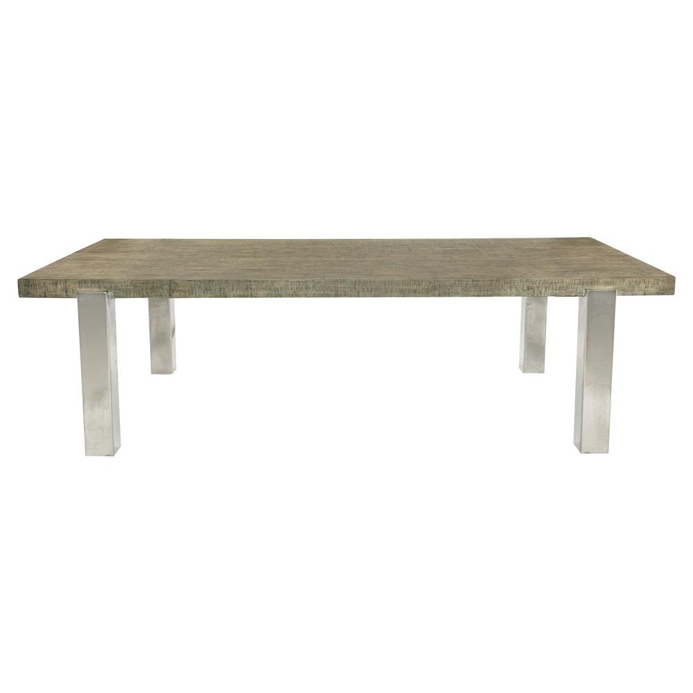 Marloes coastal beach oak wood antique nickel dining table for Beach dining table