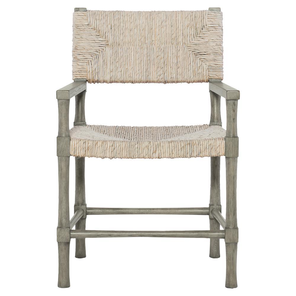 Well-liked Clarcia Coastal Woven Abaca Light Grey Wood Armchair | Kathy Kuo Home PF58