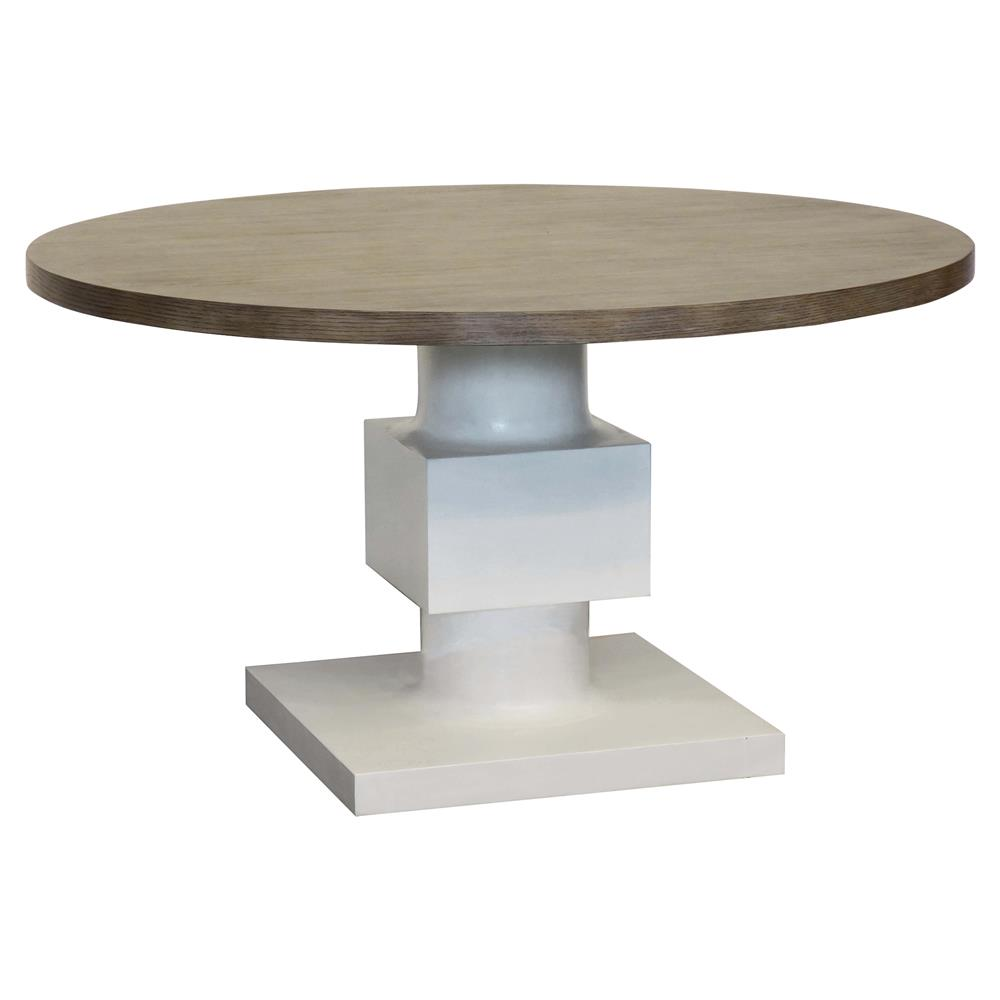 Superieur Leonara Coastal White Pedestal Rustic Round Wood Dining Table | Kathy Kuo  Home ...