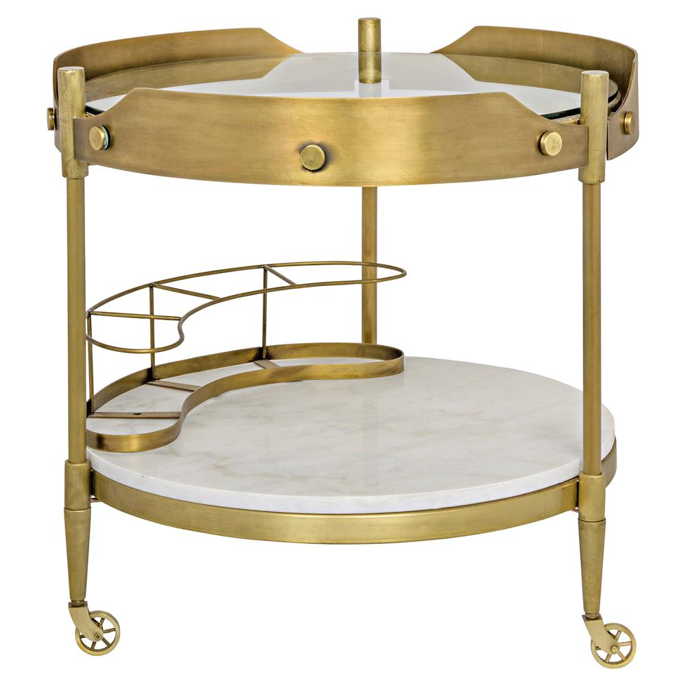 Pasquale Modern Industrial Antique Brass Round Stone Bar Cart