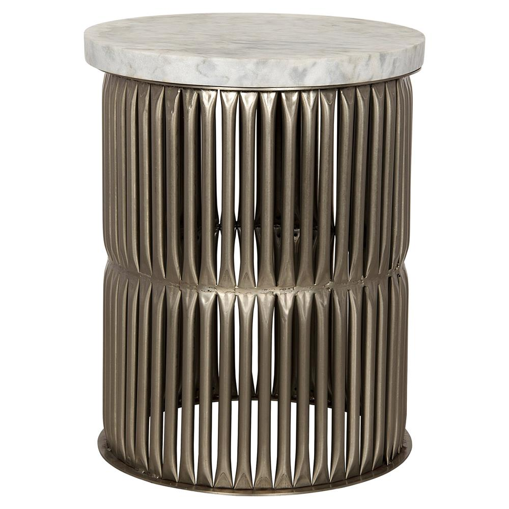 Opher Loft Antique Silver Round Stone Side Table Kathy Kuo Home