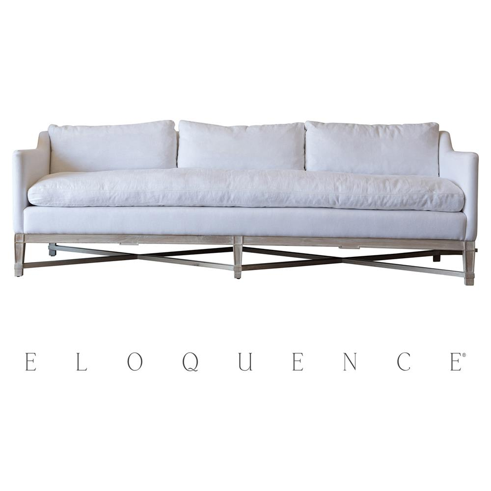 Eloquence white linen worn oak scandinavian sofa kathy for White linen sectional sofa