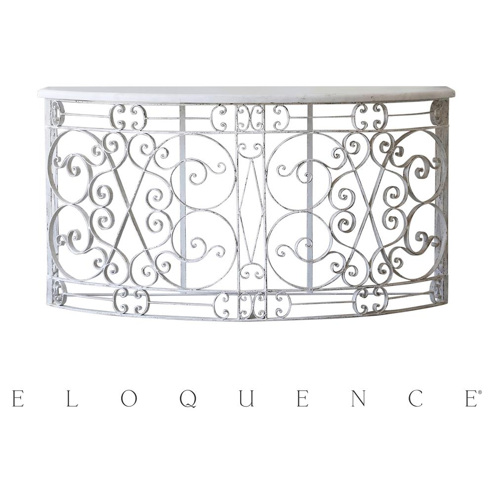 Eloquence distressed white iron balcony console table for Balcony console