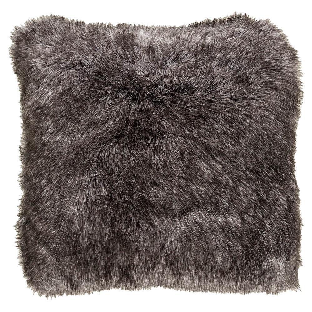 Wilke Rustic Lodge Steel Grey Faux Fur Pillow - 18x18 | Kathy Kuo Home